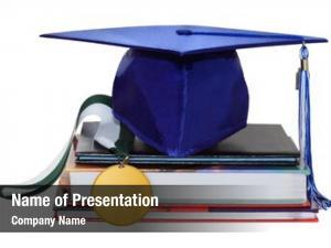 Medal, cap graduation diploma books