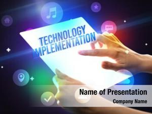 Tablet holding futuristic technology implementation