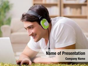 Listening young man music laptop