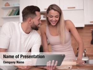 Surfing young couple web tablet
