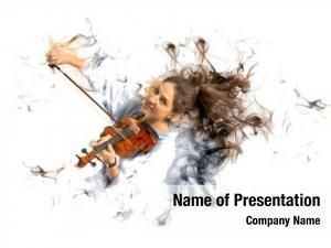 Playing young woman violin smoke