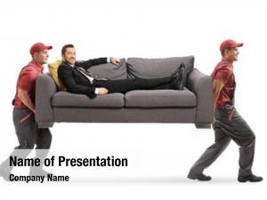 Sofa movers carrying man suit