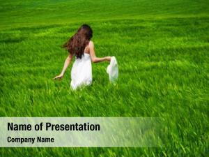 Green girl walking field