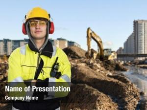 Engineer young construction posing front
