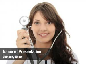 Stethoscope female doctor white focus