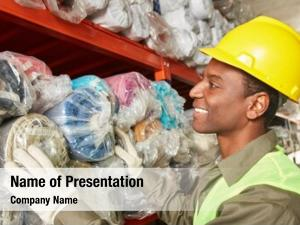 Worker young man warehouse specialist