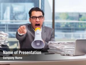 Loudspeaker angry businessman