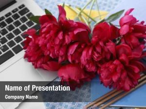Stationery bouquet of beautiful peony