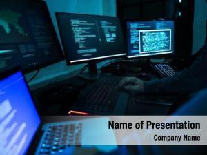 Cyberspace computer hacker working
