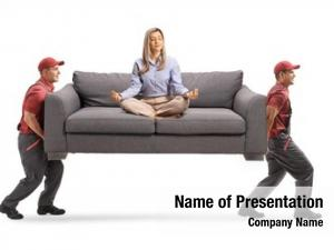 Meditating young woman sofa two