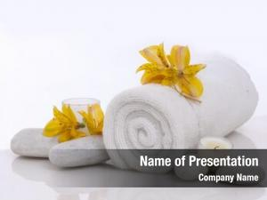 Candle, spa setting towel ,orchid,