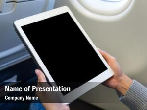 Tablet woman use air plane