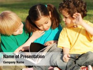 Book group children grass park