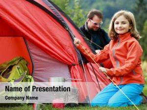 Family camp tent setting tent