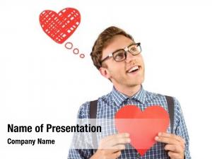 Holding geeky hipster heart card