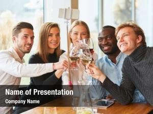 Restaurant young people toast wine