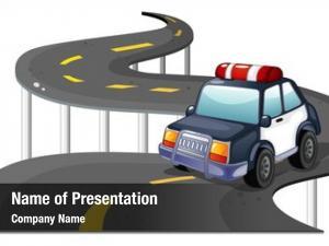Car illustration police road white