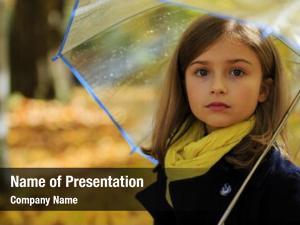 Beautiful autumn rain girl umbrella