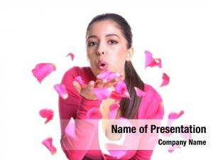 Blowing attractive woman pink rose