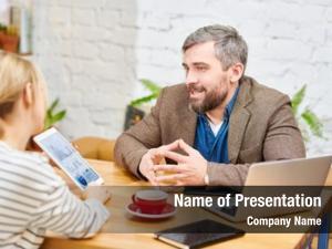 Explaining confident broker his colleague