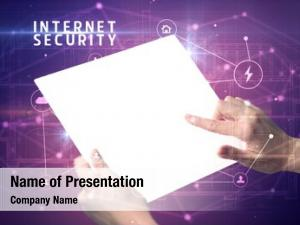 Tablet holding futuristic internet security