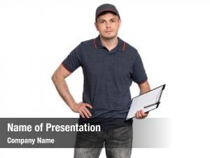 Man portrait delivery cap holding
