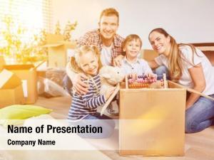 Moving children unpack box when