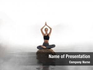 Yoga woman practicing meditation lake