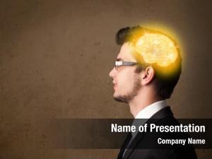 Thinking young man glowing brain