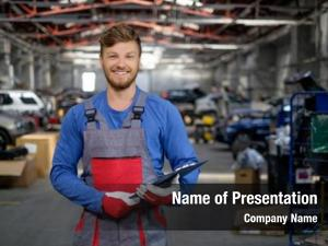 Car cheerful serviceman workshop