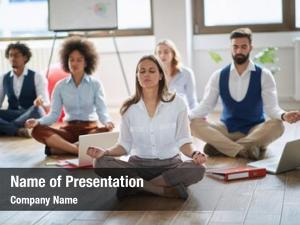 Work businesswoman meditating