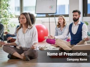 Meditating business man work