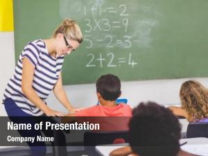 Mathematics teacher teaching school kids
