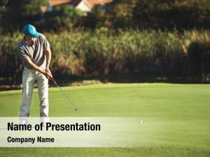 Putting golf man green aiming