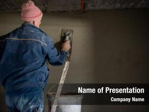 Plastering construction worker interior wall