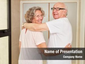 Couple happy senior hugging each