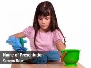 Cleaning little girl her desk