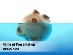 Represented drowning debt piggy bank