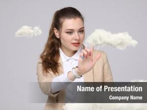 Cloud, young woman cloud computing