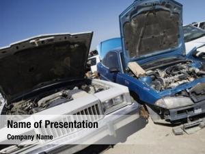 Junkyard damaged cars