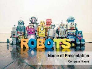 Robots team vintage old wooden