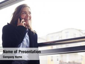Smiling low angle woman telephone