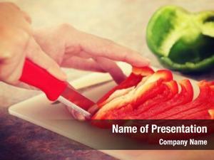 Food female chopping ingredients (paprika)