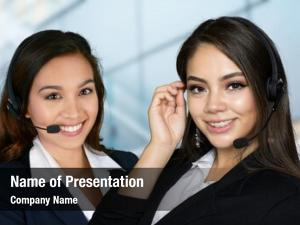 Businesswoman offering powerpoint template
