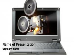 Old small laptop projector showing