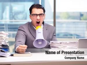 Loudspeaker angry businessman with loudspeaker