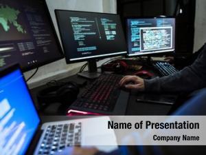 Technology computer hacker working
