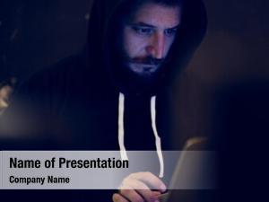 Computer hacker working cyber crime