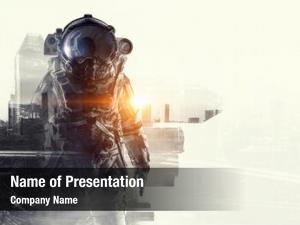 Astronaut in fantasy powerpoint theme