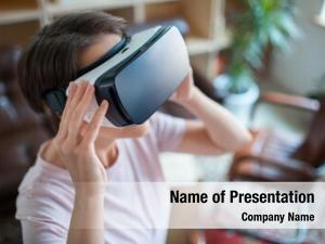 Young employee with vr headset